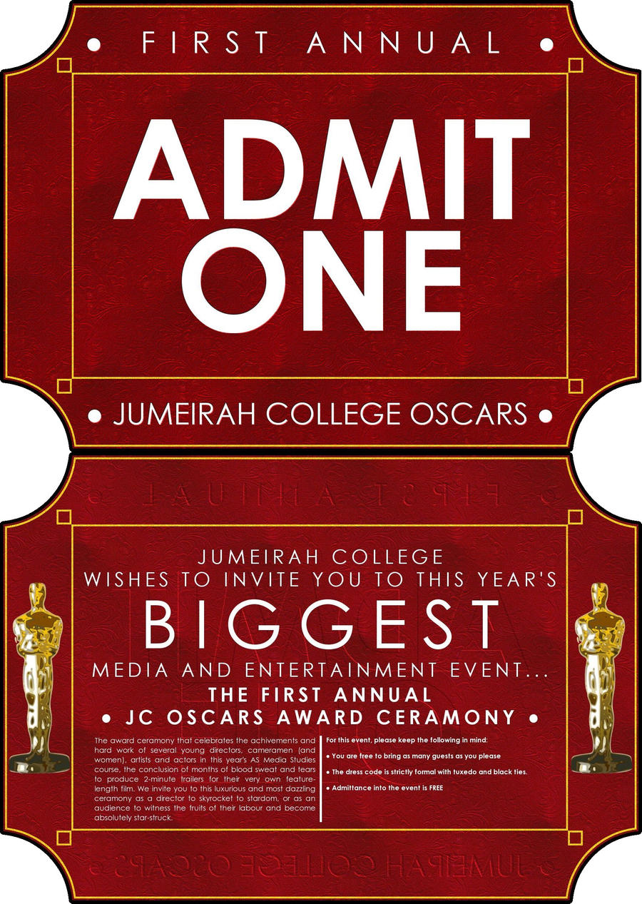 Jumeirah College OSCARS Invite by ~gnu32 on deviantART