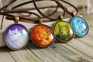 Elemental spirits - Glass pendant with art print by LunarFerns