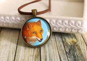 Orange and blue glass pendant Fox with butterflies by LunarFerns