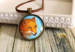 Orange and blue glass pendant Fox with butterflies