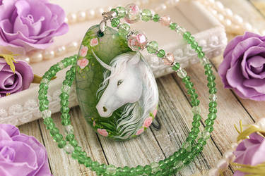 Unicorn of The Roses - hand painted stone pendant by LunarFerns