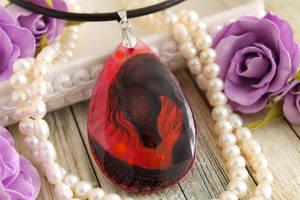 Dark pegasus II - handmade painted stone pendant by LunarFerns