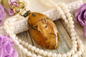 Giraffe - handmade painted stone pendant by LunarFerns