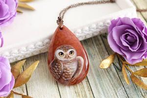 Desert owl - handmade painted stone pendant by LunarFerns