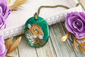 Jaguar III - handmade painted stone pendant by LunarFerns