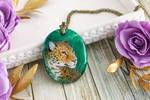 Jaguar III - handmade painted stone pendant