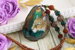 Jaguar I - handmade painted stone pendant