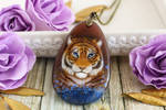 Tiger in blue flowers - hand painted pendant