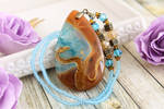 Dragon in the sky II - hand painted stone pendant