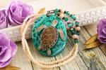 Sea turtle  - hand painted stone pendant