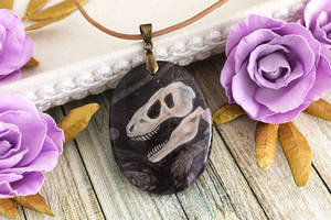 Tyrannosaurus skull - hand painted stone pendant by LunarFerns