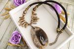 Mammoth - hand painted stone pendant