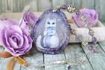 Little raccoon - hand painted pendant