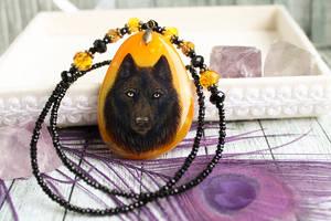 Halloween wolf- hand painted pendant by LunarFerns