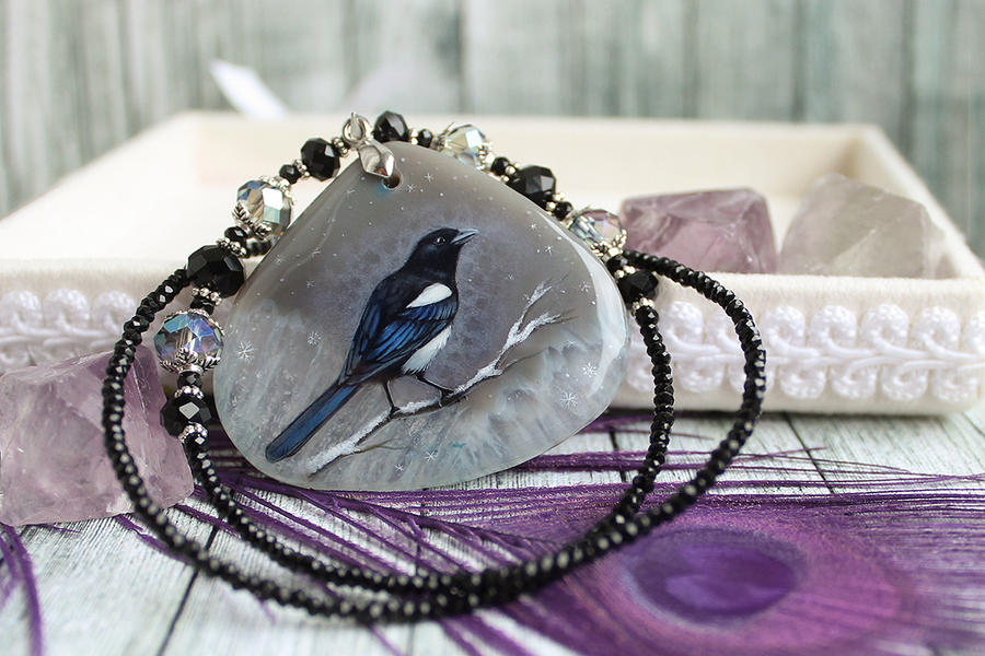 Magpie  - hand painted pendant