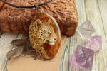 Leopard I - hand painted agate pendant