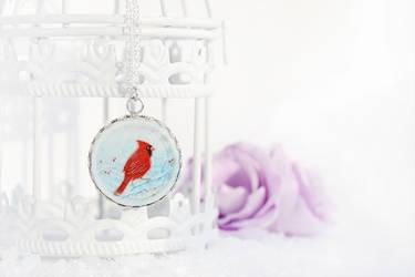 Snowfall cardinal pendant