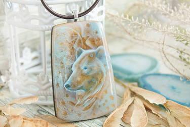 Bear s winter dream  hand painted wood pendant