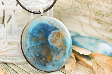 Raven s winter dream hand painted wood pendant