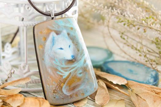 Tundra s winter spirits hand painted wood pendant