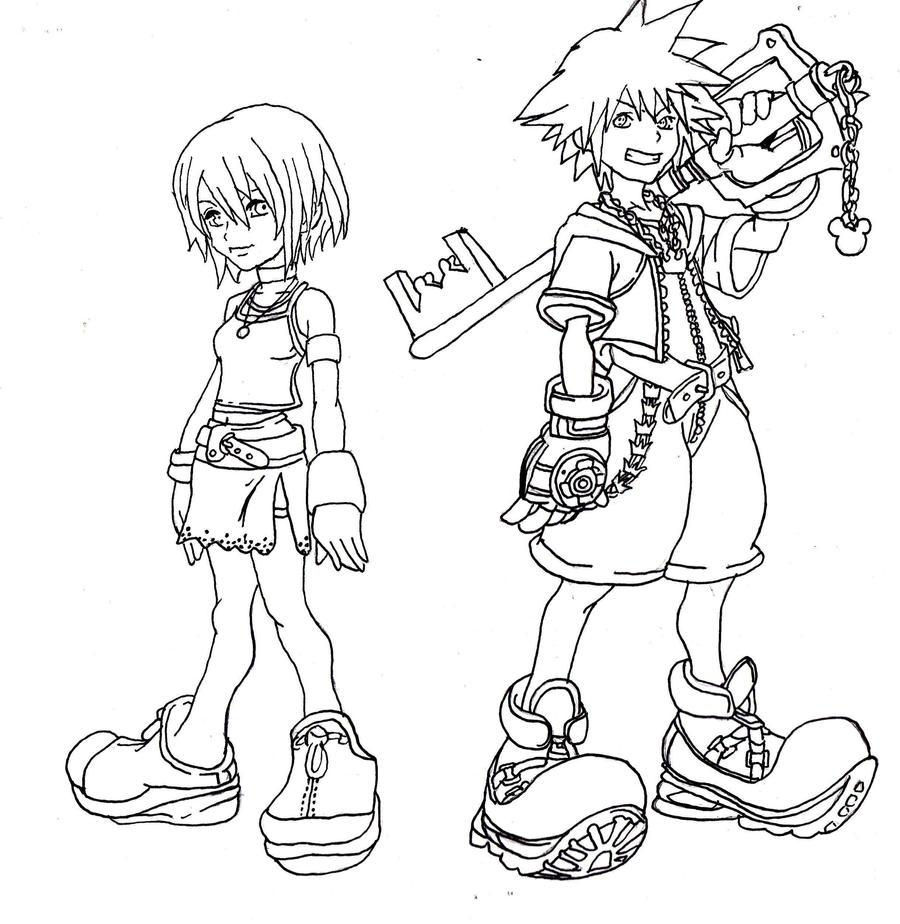 Kingdom Hearts Lineart : Kingdom hearts line art by kawaiibearz on deviantart