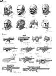 Concept Art - Masks n Guns by JerryCai