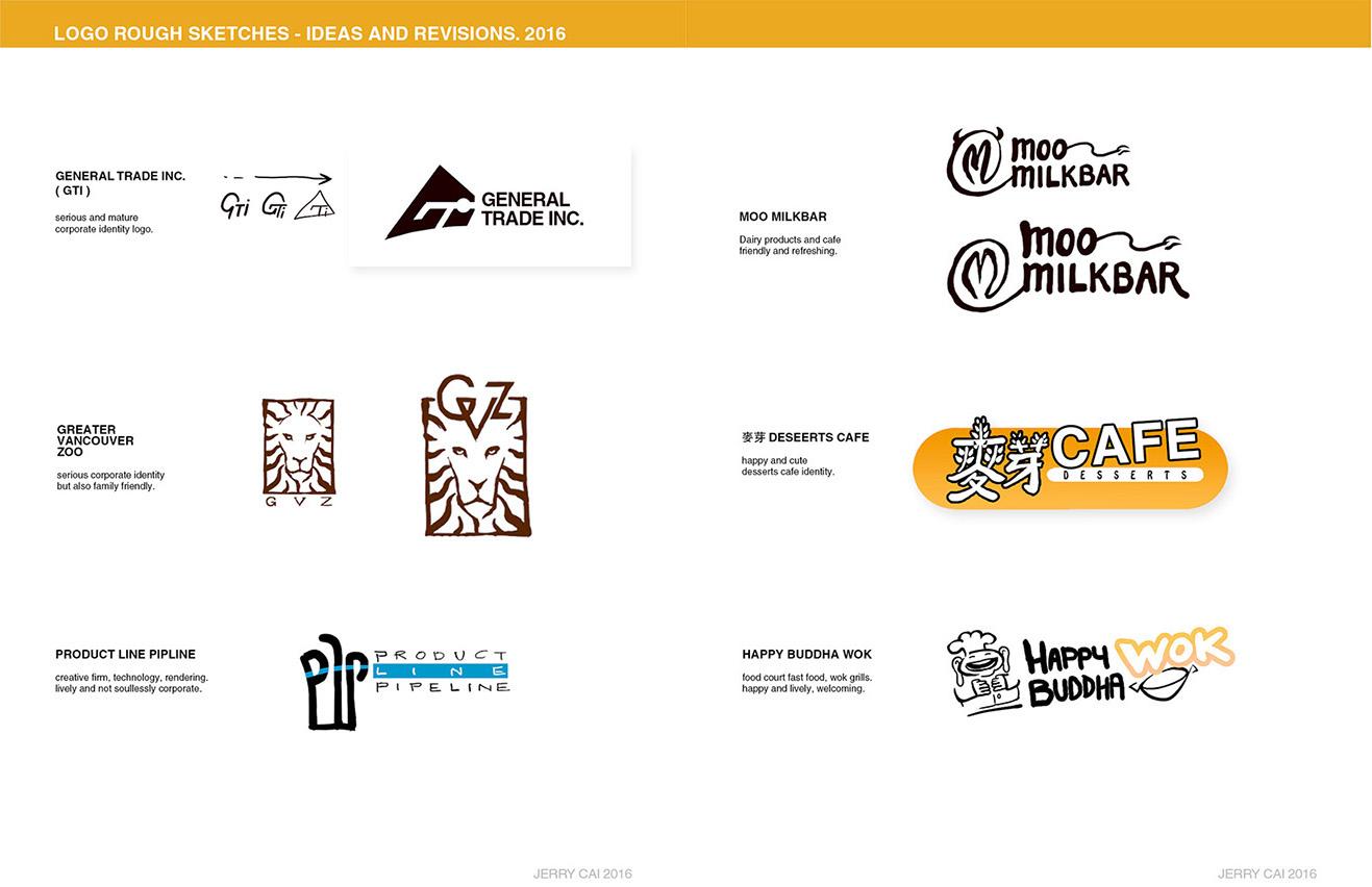 4 Logo Rough Sketches by JerryCai