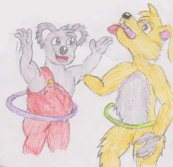 Blinky Bill And Shifty Dingo Hula Hooping By WhippetWild