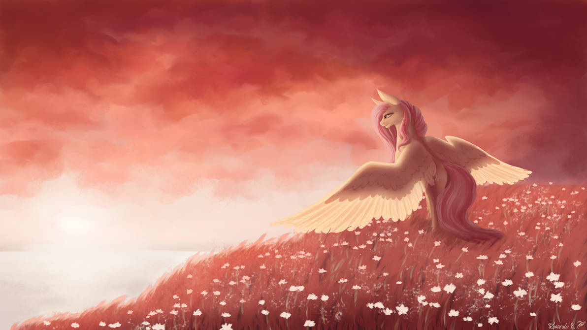 Sunset with Fluttershy by Floverale-Hellewen