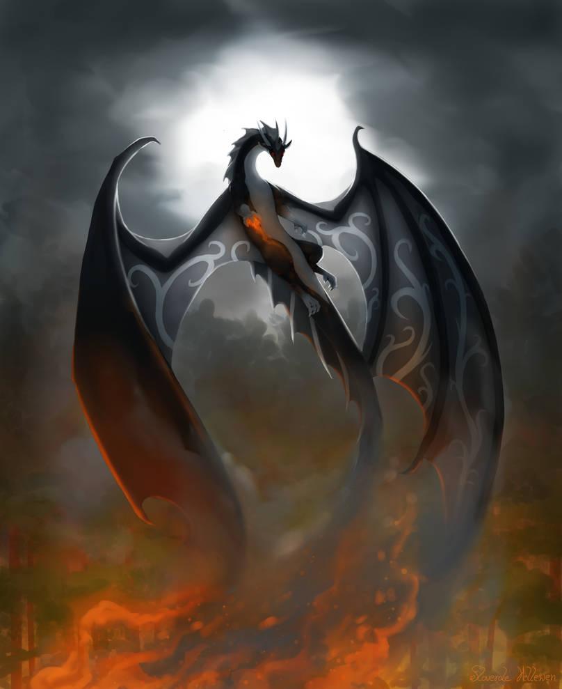Dragon burns wood - Raffle prise by Floverale-Hellewen