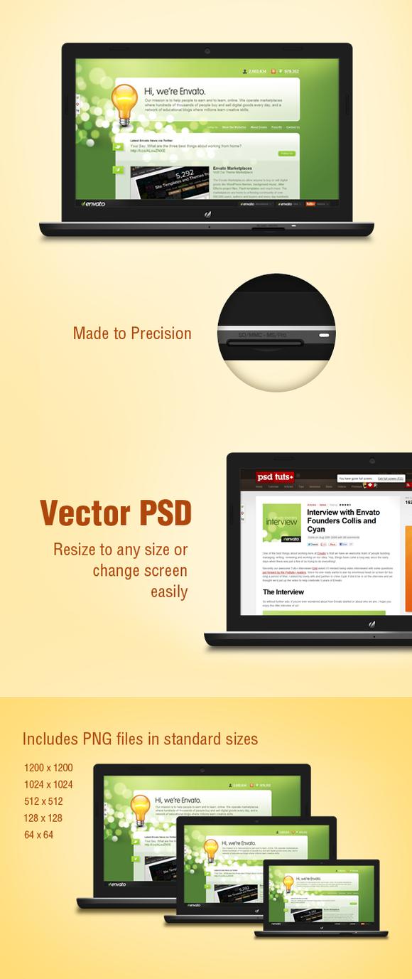 Sleek Black Laptop Mockup for Web by kshitij-earth