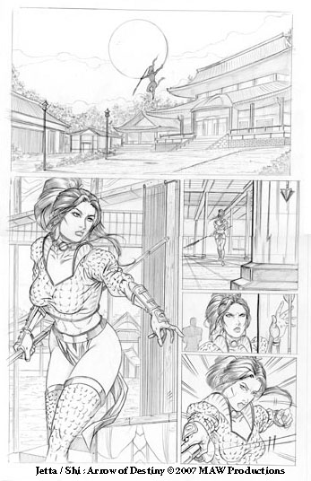 Arrow of Destiny pg 9 pencils by MAW-Productions