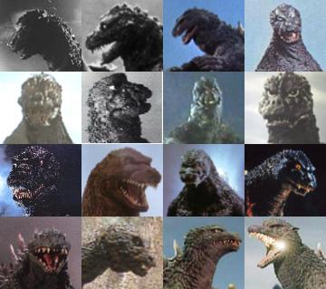 The faces of Godzilla by Danezilla