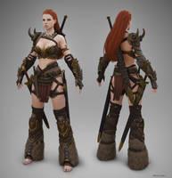 Barbarian Female T-pose by Bogdanbl4