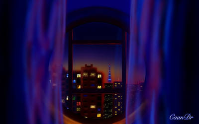 View from the night window in St.Petersburg