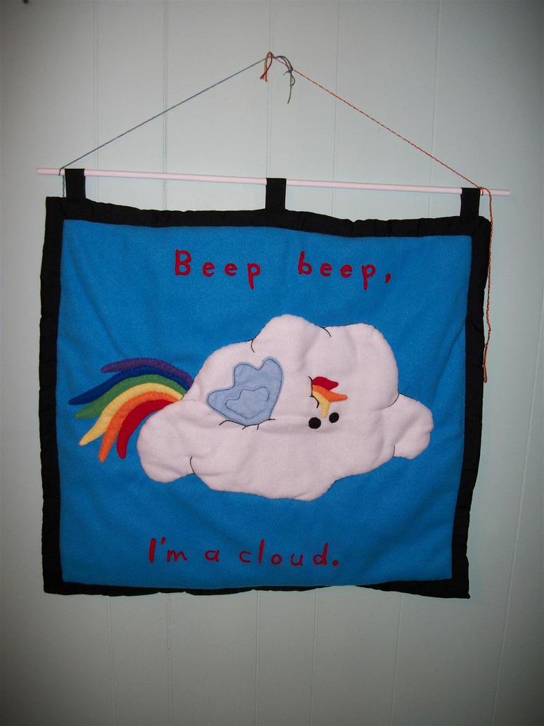 Rainbow Dash Beep Beep Cloud Plushie Wall Hanging by grandmoonma