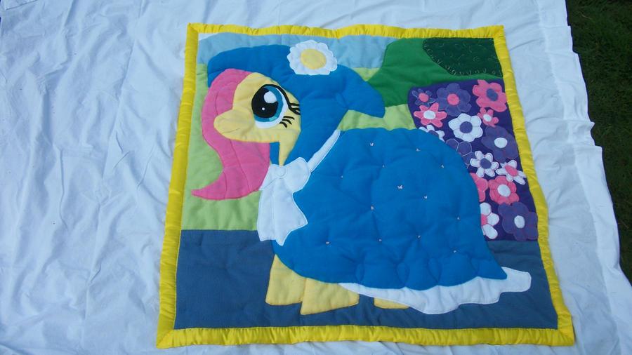 Fluttershy Handmade Custom Plush Quilt by grandmoonma