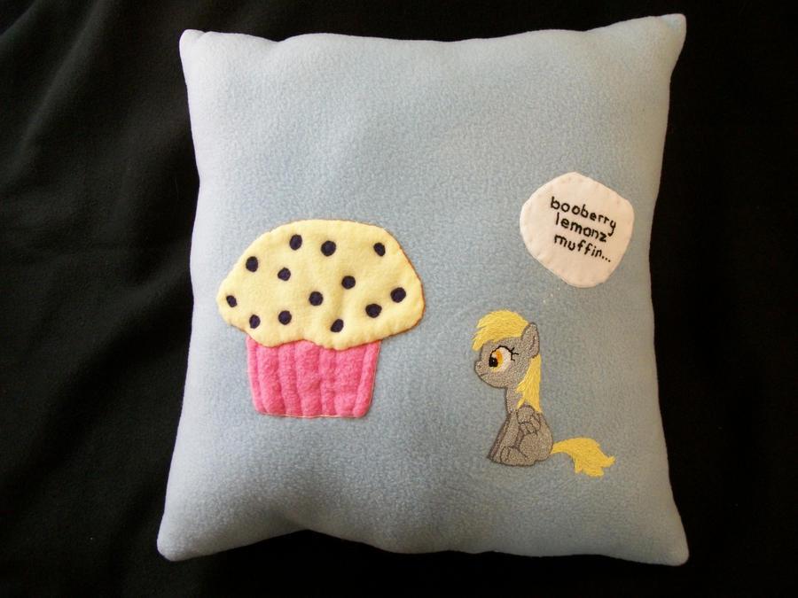 DERPY Muffin Handmade Custom Plush Pillow by grandmoonma