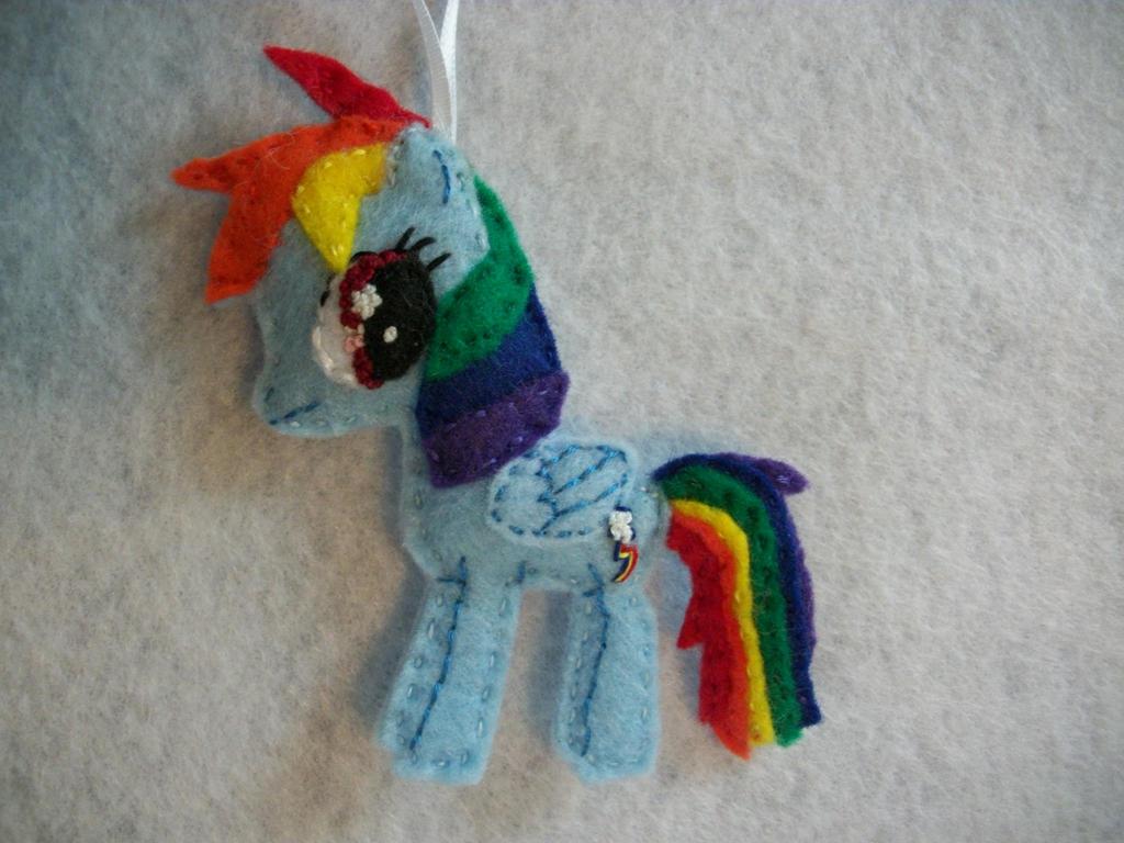 Rainbow Dash Handmade Mini Felt Ornament by grandmoonma