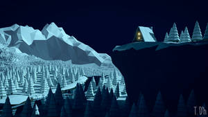 low poly - winter cabin night