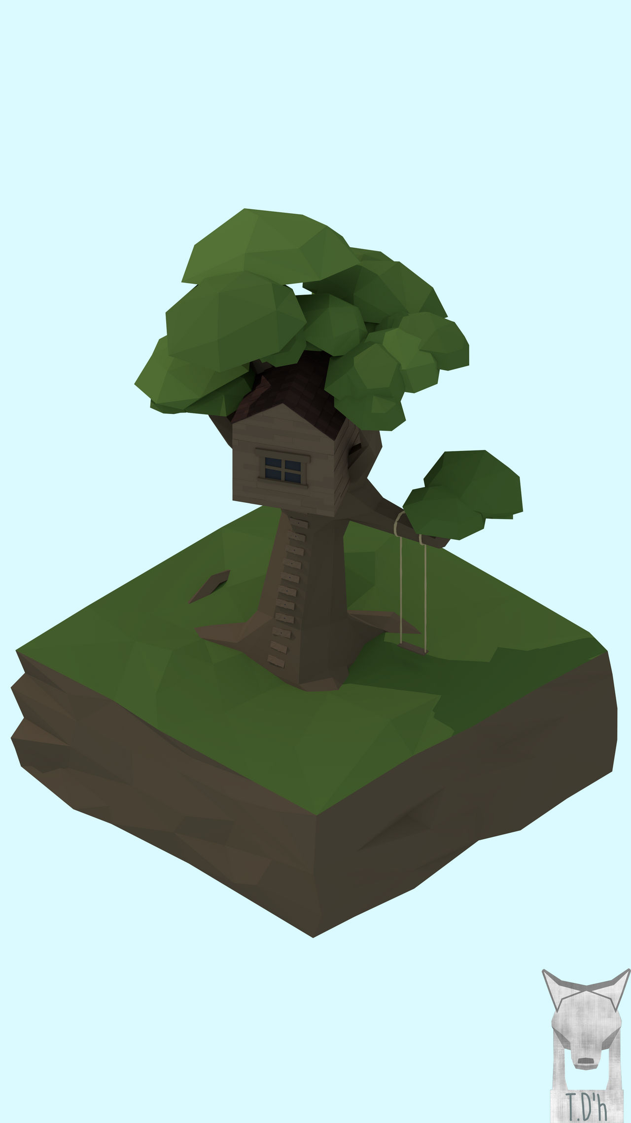 low poly - Tree House by xxxscope001xxx