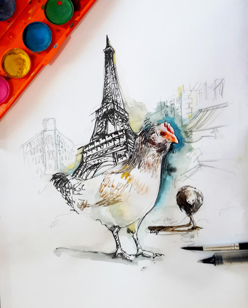 paris and chicken by ahmetbroge