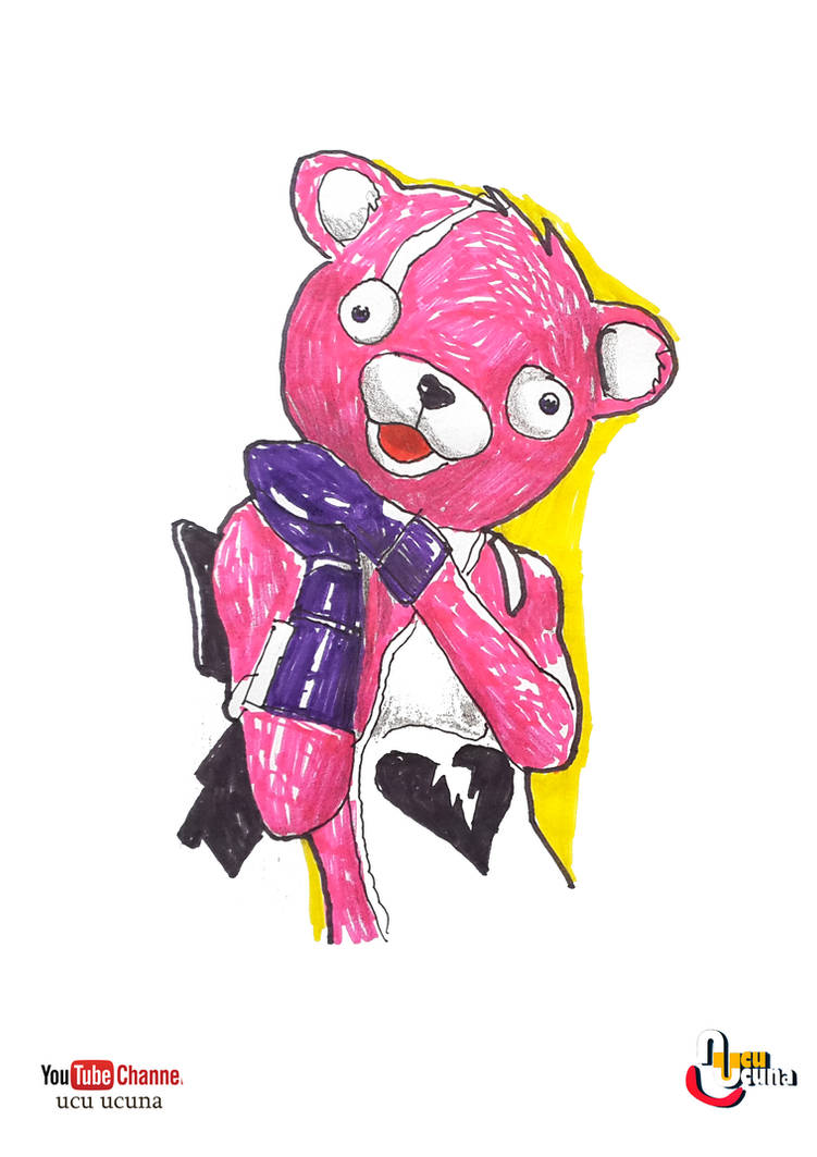 How To Draw Pink Bear Fortnite Cuddle Team Leader By Ahmetbroge On