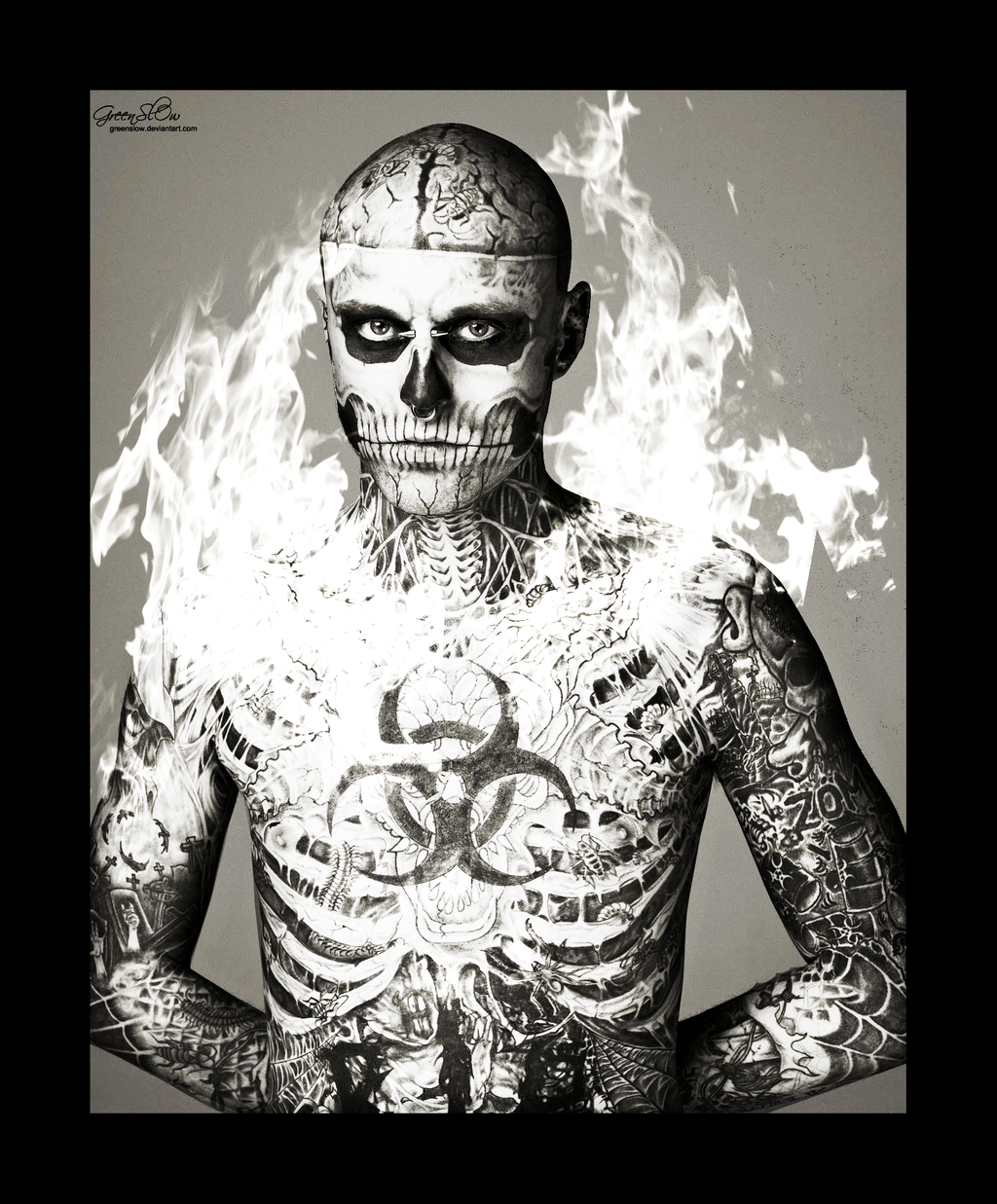 Фото парня с татуировкой скелета