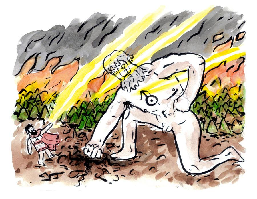 Zeus vs Kronos by MANeatingCLOTHES