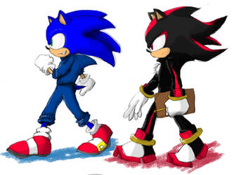 Sonic n Shadow in training suit by Gatoh721