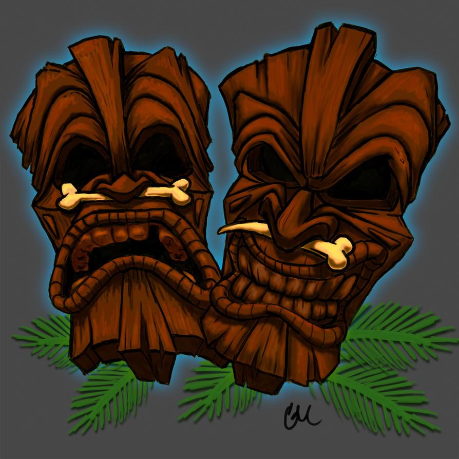 Wooden Tiki Head Drawing Tiki Masks by corporat...