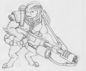 Alien with Flamethrower by SabrinaDBlood