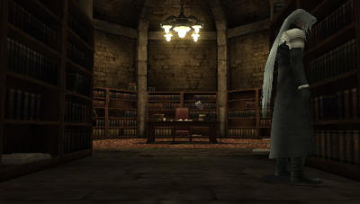 sephiroth in the shrina manor library by sephiroth6000