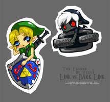 Link vs Dark Link Chibis by Tsubasa-No-Kami